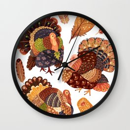Turkey Gobblers Wall Clock