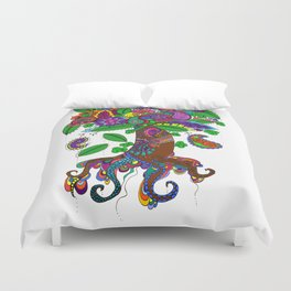 Psychedelic Paisley Tree - on White Background Duvet Cover