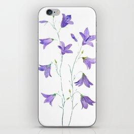 purple wildflower harebell watercolor iPhone Skin