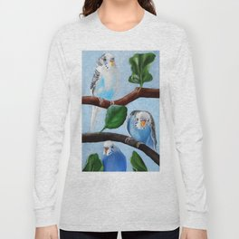 Spinach Tree Parakeet Painting Long Sleeve T-shirt