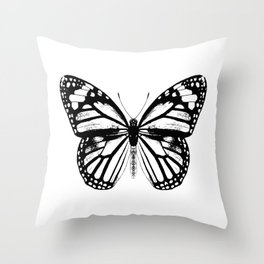 Monarch Butterfly | Vintage Butterfly | Black and White | Throw Pillow