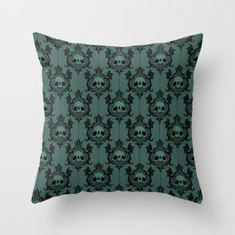 Halloween Damask Teal Throw Pillow