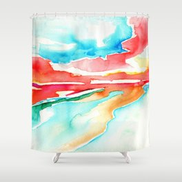 fire in the sky - beach at sunset Shower Curtain