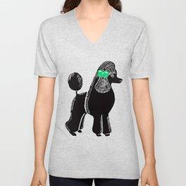 Black Standard Poodle with a Green Bow Unisex V-Neck