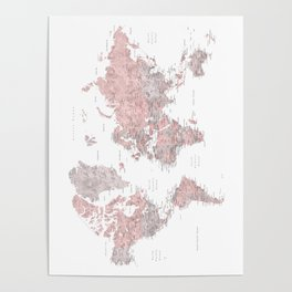 Dusty pink and grey detailed watercolor world map Poster