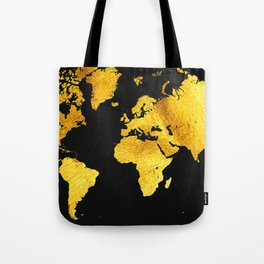 Black and Gold Map of The World - World Map for your walls Tote Bag