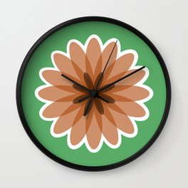 Geometric flower pattern, green and brown floral print Wall Clock