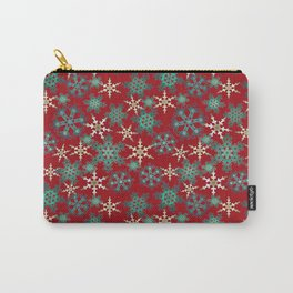 Red blue abstract Christmas decor . Snowflakes . Carry-All Pouch