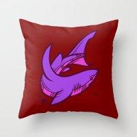 shark Throw Pillows featuring Shark by Artistic Dyslexia