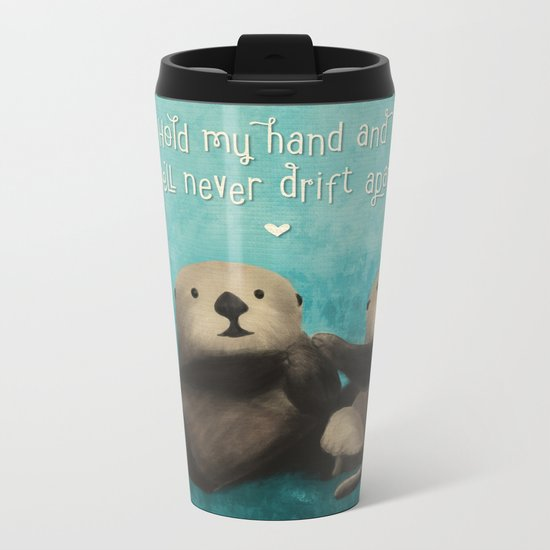 Sea Otters in Love Metal Travel Mug