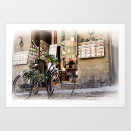 Old Bike in front of romantic shop. Florence Art Print