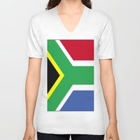south africa V-neck T-shirts featuring South Africa Flag (1994) by D.A.S.E. 3