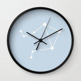 Libra Zodiac Constellation - Pastel Blue Wall Clock