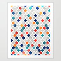 moroccan Art Prints featuring Sea & Spice Moroccan Pattern by micklyn