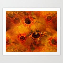 Autumn Playful Sunflowers Art Print