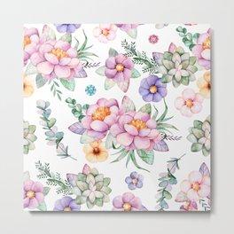 Pastel pink lavender green watercolor hand painted floral Metal Print