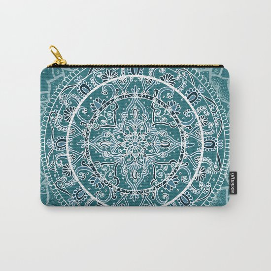 Detailed Teal and Blue Mandala Pattern Carry-All Pouch