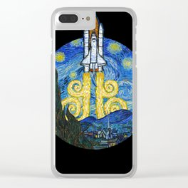 Starry Space Shuttle Clear iPhone Case