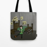 hiccup Tote Bags featuring Hiccup Adjustments by Gio Garcia