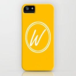 Monogram - Letter W on Amber Orange Background iPhone Case