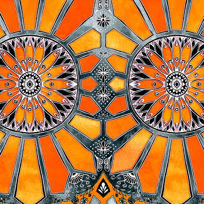 Celebrating the 70's - tangerine orange watercolor on grey Leggings