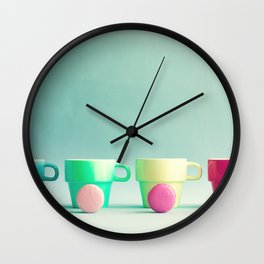 Macarons, macaroons and coffee, pop art Wall Clock