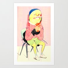 Seated figure, contemplating  Art Print