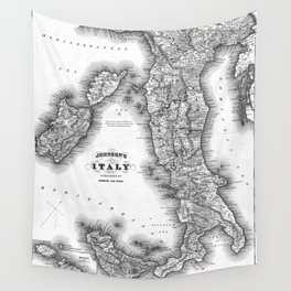 Vintage Map of Italy (1864) BW Wall Tapestry