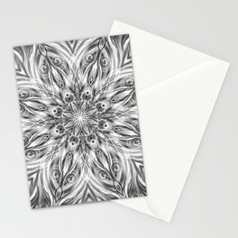 Gray Center Swirl Mandala Stationery Cards