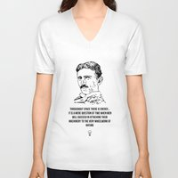 tesla V-neck T-shirts featuring Tesla Quote  by Purshue