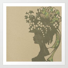 Garden Hat Chic:  Vintage Stylish Lady in hat silhouette with brown and tan sepia Art Print