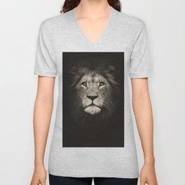 Portrait of a lion king - monochrome photography illustration Unisex V-Neck