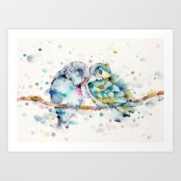 Mr & Mrs Snugglepots [pacific parrotlets] Art Print