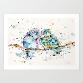 Mr & Mrs Snugglepots [pacific parrotlets] Art Print