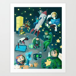 Moonbase Achievement (Extra Life 2018) Art Print