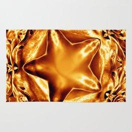 Elegant Shiny Copper Gold Christmas Star Rug