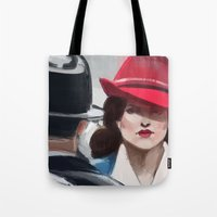 agent carter Tote Bags featuring Agent Carter by IVIDraws