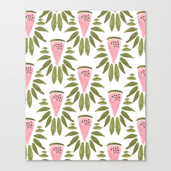 Watermelon and Leaves Canvas Print