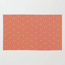 Orange Auspicious Sayagata Japanese Kimono Pattern Rug