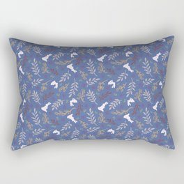 Ditsy Bunnies Amok - Lt Bunnies, Blue Background Rectangular Pillow