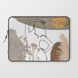 Abstract illustration a naked woman and migratory wild goose silhouette, woman's back line drawing, female back line art, erotic line drawing, body contour art, nude line art, sexy drawing Laptop Sleeve