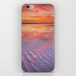 II - Beautiful sunset and reflections on the beach at low tide iPhone Skin