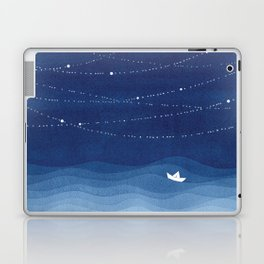 Follow the garland of stars, ocean, sailboat Laptop & iPad Skin