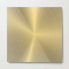 Metallic gold brushed aluminum texture print Metal Print