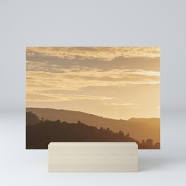 Hills at sunset in the Lake District, England Mini Art Print