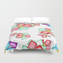 Bloomin' floral flowers pattern illustration watercolor painting nursery nature botanical ink pen Duvet Cover