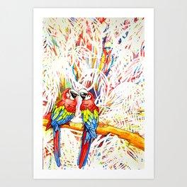 Rainbow Parrots Art Print