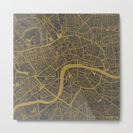 London map - Ocher Metal Print
