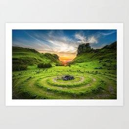 Green nature circle Art Print
