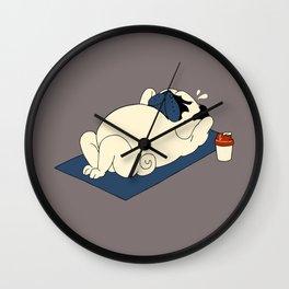 Pug Ab Crunches Wall Clock